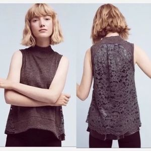 MOTH Ella Lace back mockneck sweater